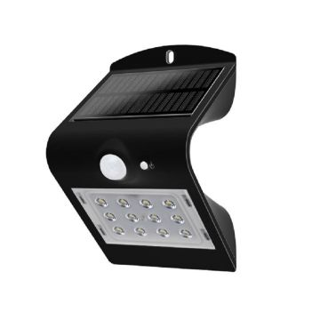 Luceco Guardian LED Solar PIR Wall Light, Black, 220LM