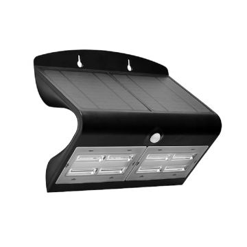 Luceco Guardian LED Solar PIR Wall Light, Black, 800LM