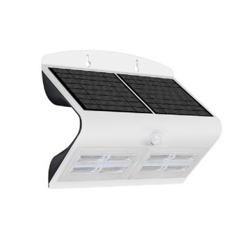 Luceco Guardian LED Solar PIR Wall Light, White, 800LM