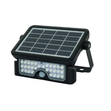 Luceco Guardian LED Solar PIR Floodlight, Black, 5W, 550LM
