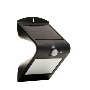 Luceco Guardian LED Solar PIR Wall Light, Black, 180LM