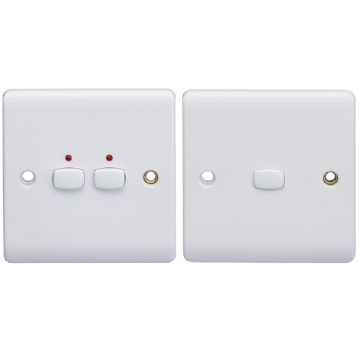 MiHome Double (2 Gang) Master & Slave Light Switches, White (DISCONTINUED)