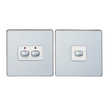 MiHome Double (2 Gang) Master & Slave Light Switches, Brushed Steel (DISCONTINUED)