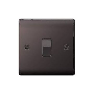 Nexus Metal 10A Single Intermediate Light Switch, Black Nickel