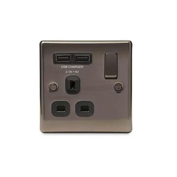 Nexus Metal 13A Single Plug Socket with 2 x USB Charger, Black Nickel, Black Inserts