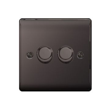 Nexus Metal Double Dimmer Switch, Push On/Off 400W, Black Nickel