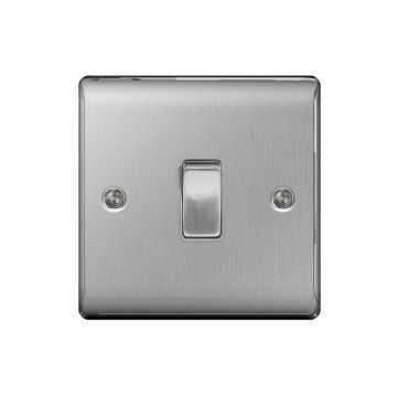 Nexus Metal 10A Single Light Switch, Brushed Steel - PACK OF 10