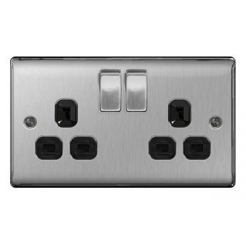 Nexus Metal Double 13A Plug Socket, Brushed Steel, Black Inserts - PACK OF 5
