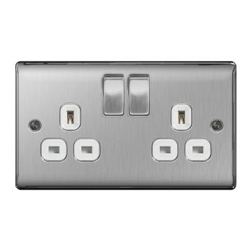 Nexus Metal Double 13A Plug Socket, Brushed Steel, White Inserts - PACK OF 10