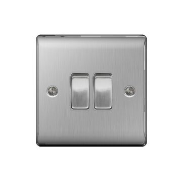 Nexus Metal 10A Double Light Switch, Brushed Steel - PACK OF 5