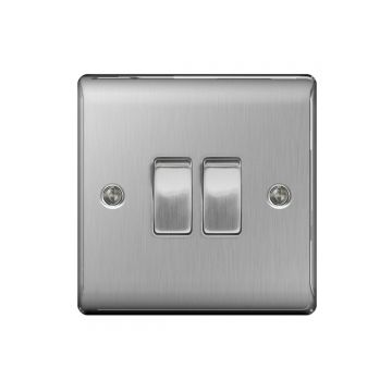 Nexus Metal 10A Double Light Switch, Brushed Steel - PACK OF 10
