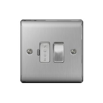 Nexus Metal 13A Switched Fused Connection Unit, Brushed Steel - PACK OF 10