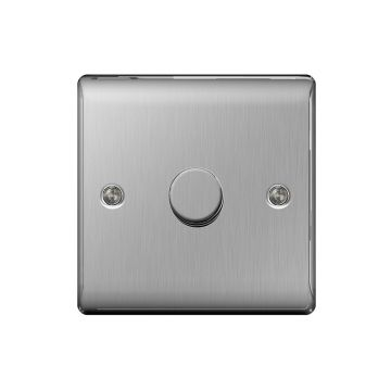 Nexus Metal Single Dimmer Switch, Push On/Off 200W, Brushed Steel