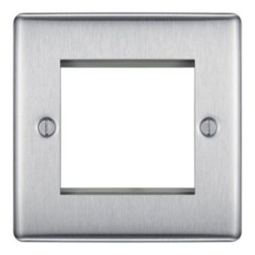 Nexus Metal Dual Module Front Plate, Brushed Steel