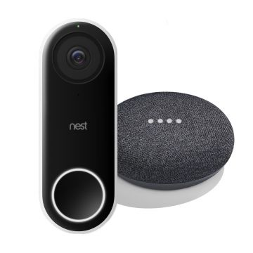 Nest® Hello Video Doorbell & Google Home Mini - Charcoal Bundle