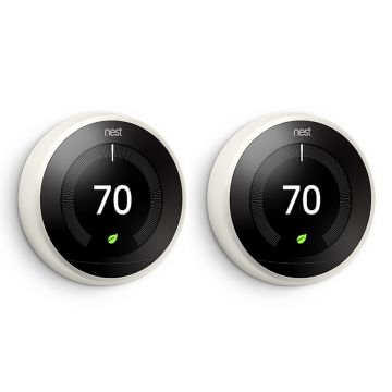 Google Nest® Learning Thermostat - 3rd Generation, White - TWIN PACK