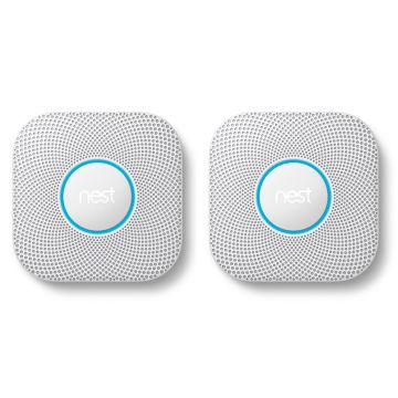 Google Nest® Protect 2nd Generation Smoke & Carbon Monoxide Alarm, Wired - TWIN PACK