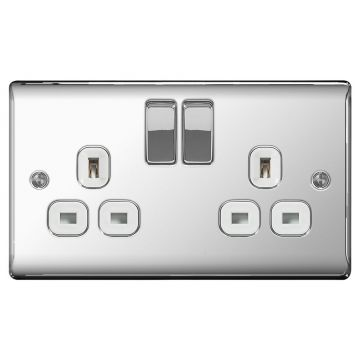 Nexus Metal Double 13A Plug Socket, Polished Chrome, White Inserts - PACK OF 10