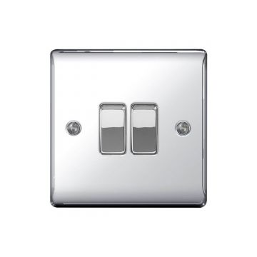 Nexus Metal 10A Double Light Switch, Polished Chrome - PACK OF 10