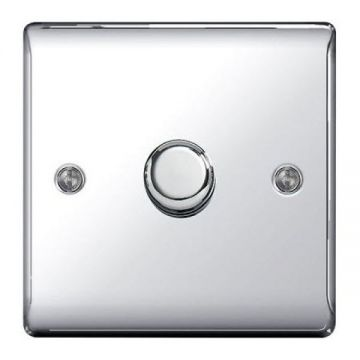 Nexus Metal Single Dimmer Switch, Push On/Off 200W, Polished Chrome