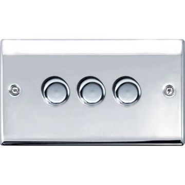 Nexus Metal Triple Dimmer Switch, Push On/Off 200W, Polished Chrome