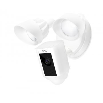 Ring Floodlight Cam Motion Activated Security Camera, Wired, White