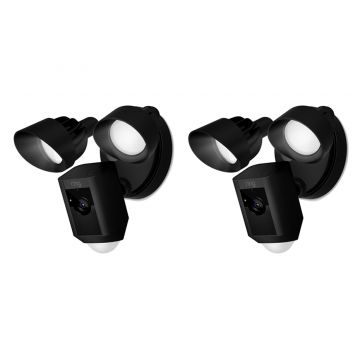 Ring Floodlight Cam Motion Activated Security Camera, Wired, Black - PACK OF TWO