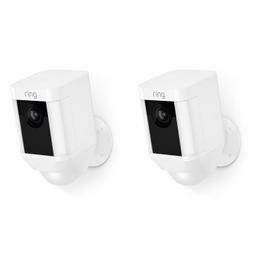 Ring Smart Spotlight Camera, Battery, White - PACK OF TWO