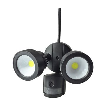 Ener-J Outdoor Floodlight with PIR & Security Camera, Black