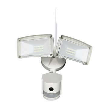 Ener-J Outdoor Floodlight with PIR & Security Camera, White