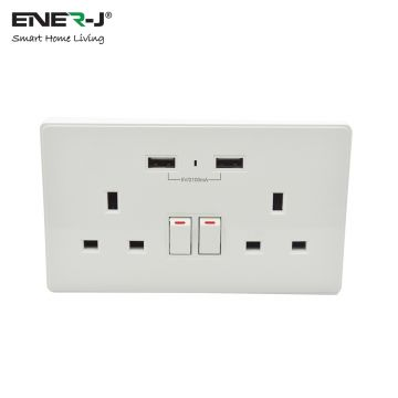 Ener-J WiFi Twin Wall Socket with USB Ports