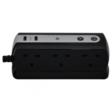 6 Socket, Surge Protected Extension Lead With 2 X USB Charger Outlets, 2 Meter Cable
