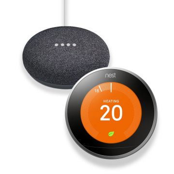 Google Nest T3028GB Learning Thermostat 3rd Generation & Google Home Mini - Charcoal