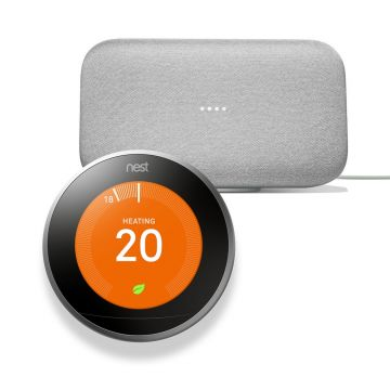 Google Nest® T3028GB Learning Thermostat 3rd Generation & Google Home Max - Chalk