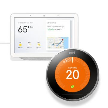 Google Nest T3028GB Learning Thermostat 3rd Generation & Google Home Hub - Chalk