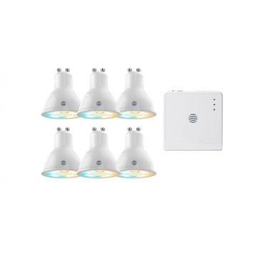 Hive Active Light Starter Pack, 6 x Cool to Warm White Bulbs + Hive Hub
