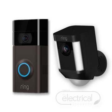 Ring Video Doorbell V3 & Black Spotlight Cam (Battery) Bundle
