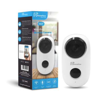 Homeflow Wi-Fi 720P Smart Indoor & Outdoor Wireless Camera, White