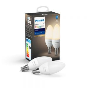 Philips Hue LED Smart Candle Light Bulb, Dimmable, 5.5W, E14, Warm White -  PACK OF TWO