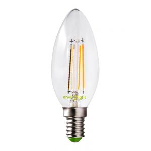 Envirolight LED 4W Filament Dimmable Candle Bulb, Warm White, Small Screw Fitting