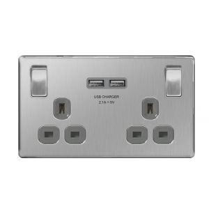 Screwless Flat Plate 13A Double Plug Socket with 2 x 3.1A USB Charger, Brushed Steel, Grey Inserts
