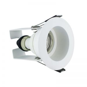 Integral LED Evofire GU10, IP65 Fire Rated Recessed Downlight & Insulation Guard, Matt White