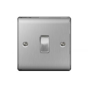 Nexus Metal 10A Single Intermediate Light Switch, Brushed Steel