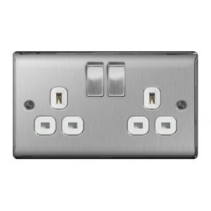 Nexus Metal Double 13A Plug Socket, Brushed Steel, White Inserts