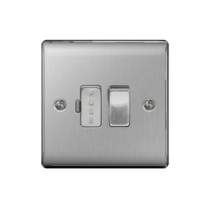 Nexus Metal 13A Switched Fused Connection Unit, Brushed Steel