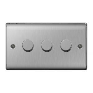 Nexus Metal Triple Dimmer Switch, Push On/Off 400W, Brushed Steel