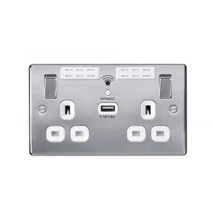 Nexus Metal 13A WIFI Range Extender Double Plug Socket With 1 x USB (2.1A), Polished Chrome, White Inserts