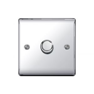 Nexus Metal Single Dimmer Switch, Push On/Off 400W, Polished Chrome