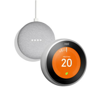 Google Nest T3028GB Learning Thermostat 3rd Generation & Google Home Mini 2nd Gen - Chalk