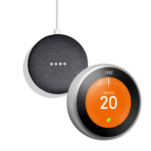 Google Nest T3028GB Learning Thermostat 3rd Generation & Google Home Mini 2nd Gen - Charcoal